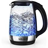 WELQUIC Electric Kettle Hot Water Heater 1.7L High Capacity for Tea and Coffee with Built-in LED Light Supports Fast Boiling Technology and Reusable Water Filter BPA-Free and LFGB Certified