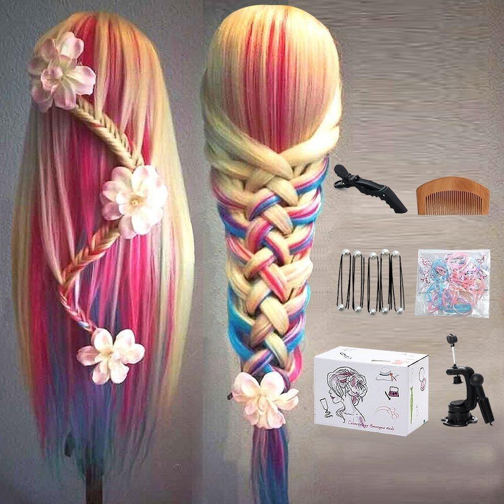 MYSWEETY 29 Multicolor Cabeza de Entrenamiento de Peluquería de Cabello Cabezal de Práctica Modelo Maniquíes de aprendizaje sintético con el pelo largo (con soporte) MYSWEETY Co. Ltd Colorful Hair Mannequin Head