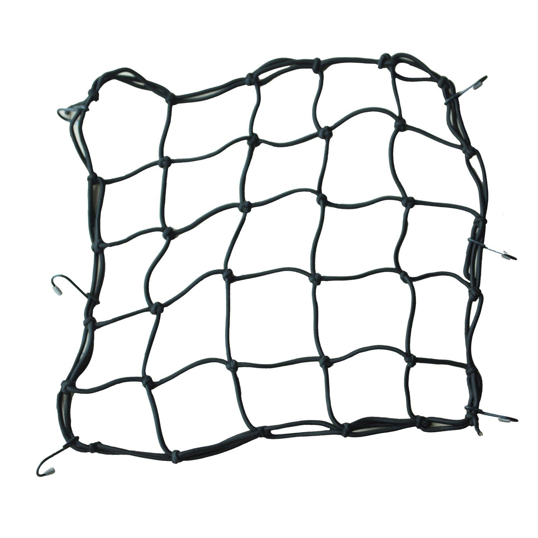TOOGOO(R) 40 * 40cm filet araignee Filet a bagages avec 6 crochets pour Bike moto scooter Noir SHOMAGT27079
