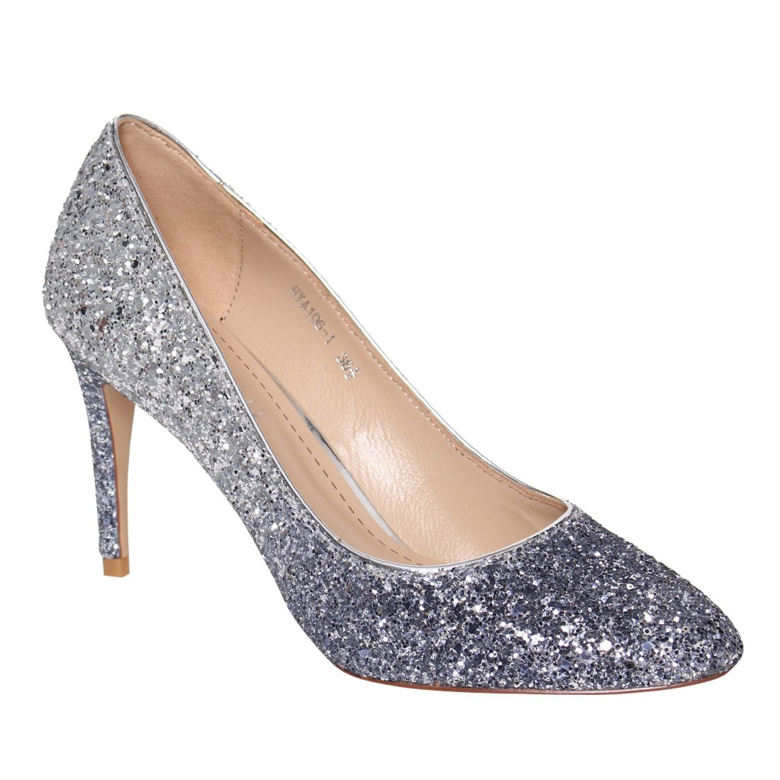 LANINI DE60 Women's Coarse Glitter Leather Stiletto Evening Dress Pumps Shoes, Color:GRADIENT GLITTER, Size:38 EU/ 8 B(M) US