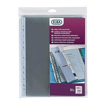 Elba - Fundas perforadas (10 unidades, PVC 20/100, 11 agujeros): Amazon.es: Oficina y papelería
