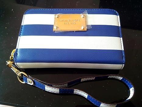 a7dc951695d650 Michael Kors Navy White Striped Wristlet Essential Zip Wallet Case iphone 5/ 4/4s
