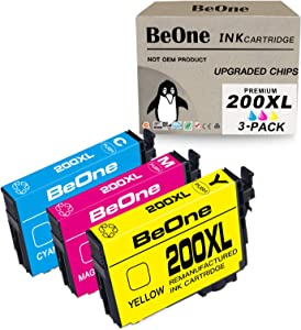BeOne Remanufactured Ink Cartridge Replacement for Epson 200 XL 200XL T200 T200XL 3-Pack to Use with Workforce WF-2540 WF-2530 WF-2520 Expression Home XP-200 XP-410 XP-310 XP-400 XP-300 (1C 1M 1Y)
