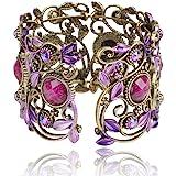 less like Cuff Bracelets, Summer Vintage VTG Rainbow Purple Flower Resin CZ Rhinestone Drop Bracelet Bangle Jewelry For Women