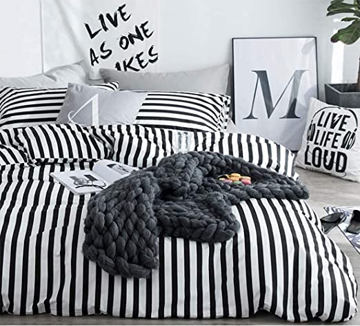 Amazon Com Jumeey White And Black Duvet Cover Queen Striped
