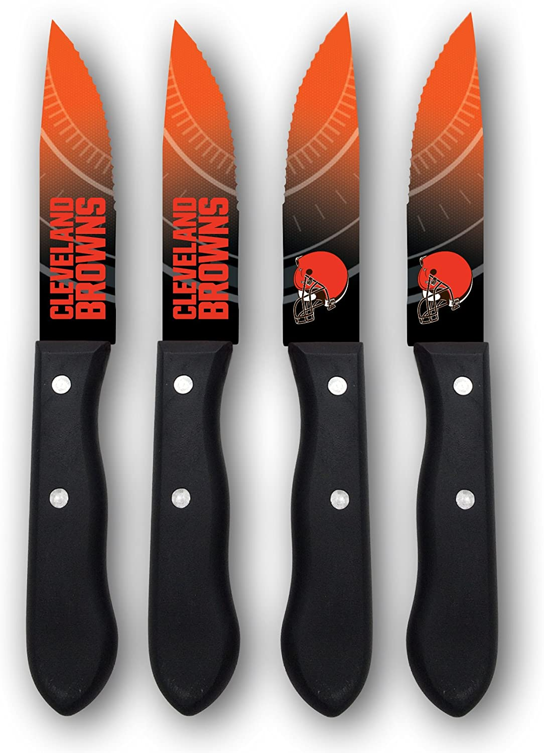 NFL Steak Knives - Set of 4 Stainless Steel Serrated Blade Kitchen Steak Knives - Durable & Dishwasher Safe - Scratch Resistant & Rust Proof - Ideal Gift for the Loyal Sports Fan