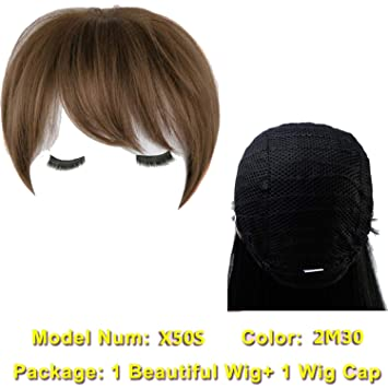 d07c8c55b7b Amazon.com : Short Brown Hair Wigs Women Natural Synthetic Wigs For Women  African Americans Heat Resistant Fake Hair 6 Colors, T1B/27, 8inches :  Beauty