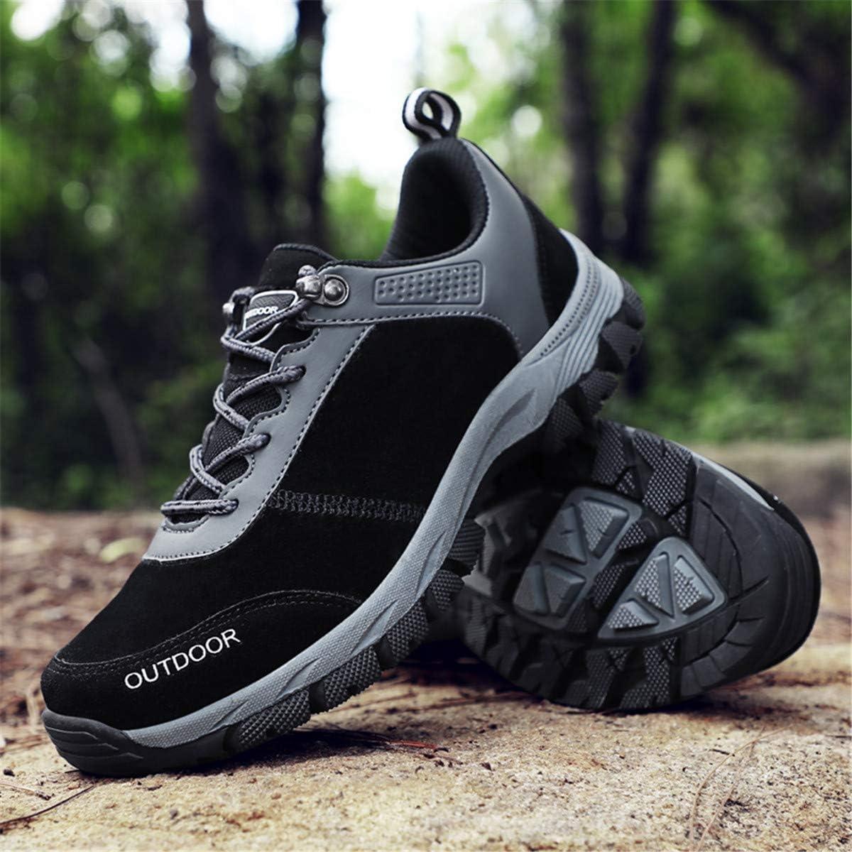 gracosy Hombres Zapatos de Senderismo Al Aire Libre Zapatos Bajos Antideslizante Botas de Nieve Zapatillas de Deporte Monta/ñismo Running Entrenamiento Ultraligero Sneakers 2019,Gris Negro