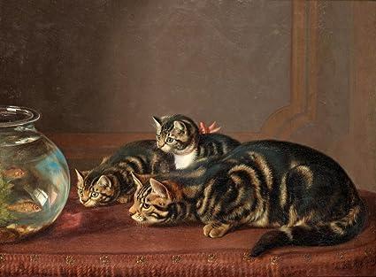 Gatos por una pecera: henriëtte Ronner-Knip: C1860