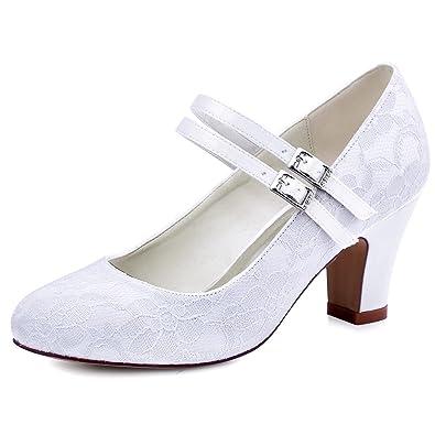 df7fa186be26 Elegantpark HC1701 Women Closed Toe High Heel Mary Jane Pumps Buckle Satin  Lace Wedding Bridal Court