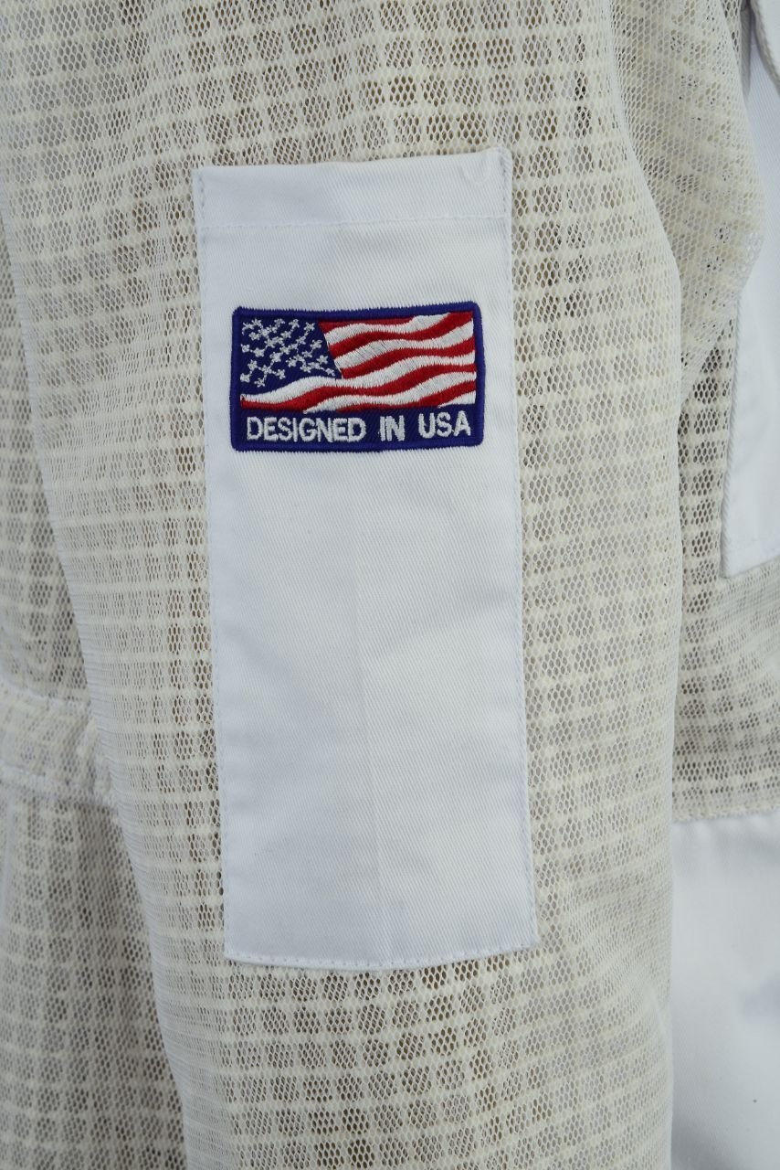 Bee Suit 3 Layer Ultra Ventilated Safety Protective Unisex White Fabric Mesh Beekeeping Jacket Beekeeper Outfit Fency Veil-XL by Bee Suit (Image #9)