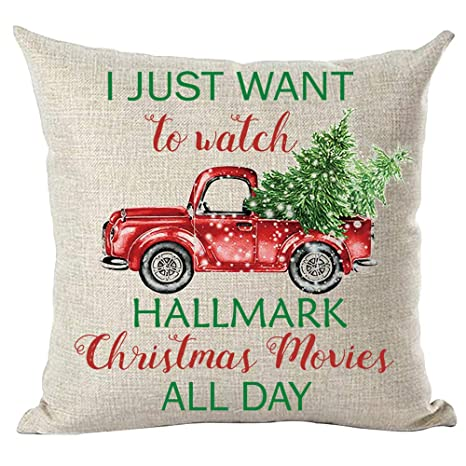 ramirar Hand Painted Watercolor Colorful Pickup Truck Watch Christmas Movies All Day Trees Decorative Throw Pillow Cover Case Cushion Home Living Room ...