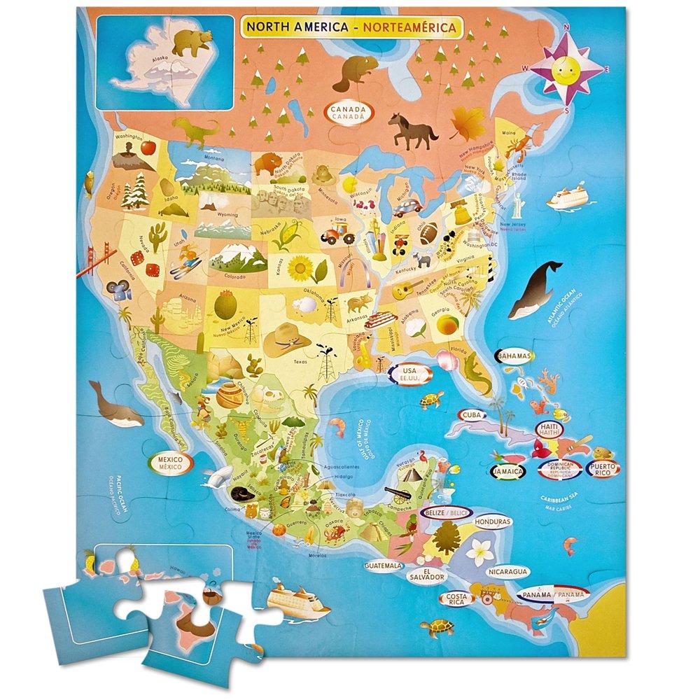 Amazoncom Ingenio North America Map Bilingual Puzzle Toys Games - Canada map puzzles