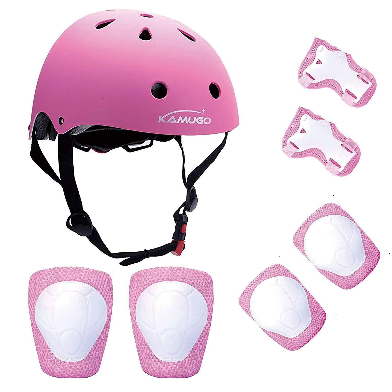 KUMUGO Protezioni per bambini Childs Skateboard Casco Ginocchiere Gomitiere Protezioni per il polso per BMX Cycle Roller Skate Scooter 3-8 anni Bambini (Pink) pink01