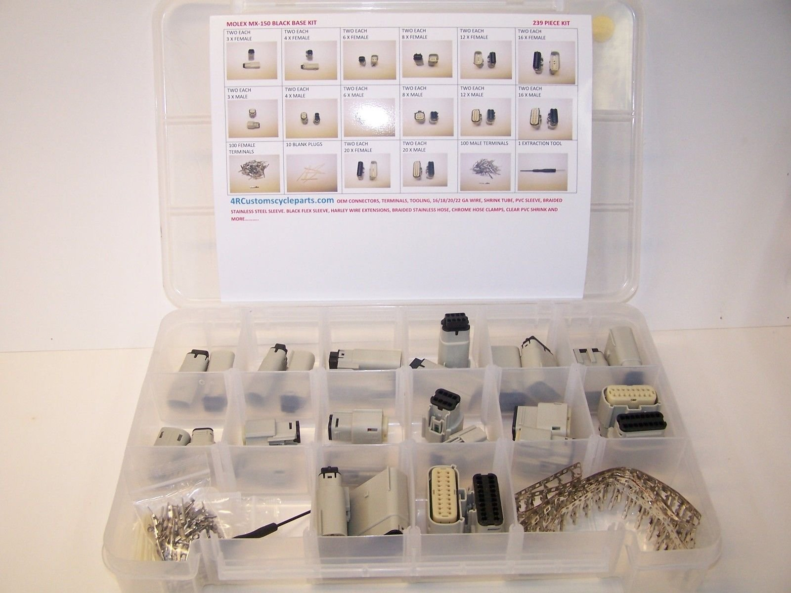 Molex Gray Connectors, 239 Piece Kit, Stamped Terminals, Pic Tool, 3X to 20X, Wiring Switch, Wire 07-12, OEM, Harley, Auto,