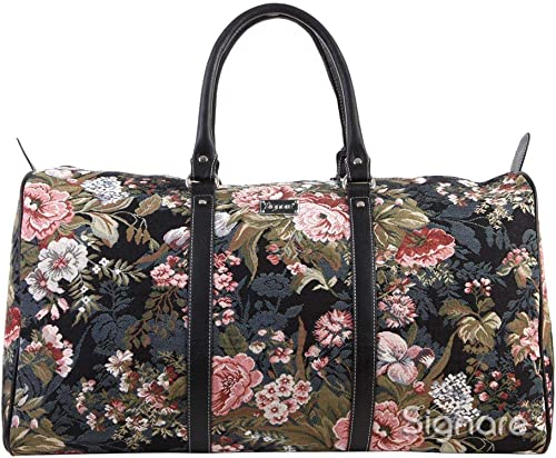 Signare Tapestry Large Duffle Bag Overnight Bags Weekend Bag for Women with Peony Design BHOLD-PEO