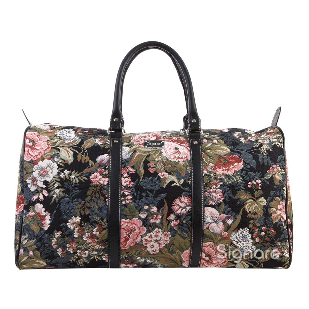 Signare Tapestry Carry-on Overnight Weekender Duffel Travel Bag with Peony Flower Black BHOLD-PEO