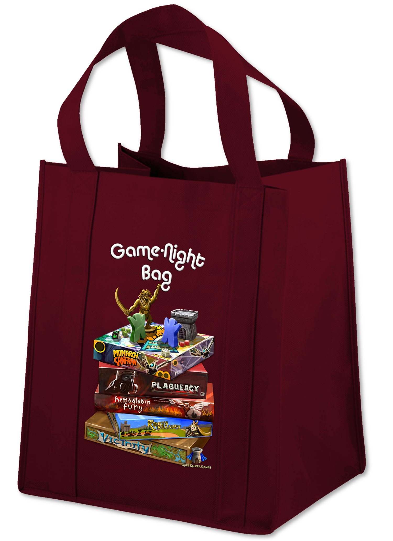 Game Night Bag ''The Homage'' - 15x13x10'' Tote Bag w/ Reinforced Base & Handles - Carries up to 40lbs