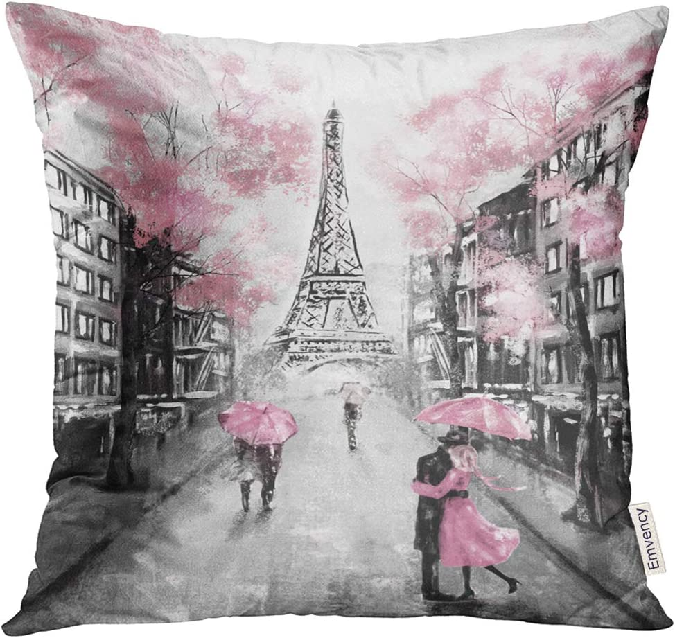 Emvency Throw Pillow Cover Oil Painting Paris European City Landscape France Eiffel Tower Black White and Pink Modern Couple Under Decorative Pillow Case Home Decor Square 18x18 Inches Pillowcase