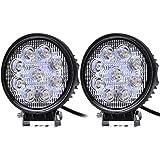 2 projecteurs avec réflecteur, de 27 W avec 9 LED - Éclairage pour hors-piste - Lampe de travail - Pour SUV, UTV, véhicules tout-terrain -12V 24V - Extrêmement lumineux - 2400 lm