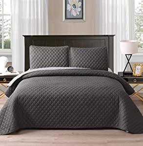"""Exclusivo Mezcla Ultrasonic Reversible 3-Piece Queen Size Quilt Set with Pillow Shams, Lightweight Bedspread/Coverlet/Bed Cover - (Grey, 92""""x88"""")"""