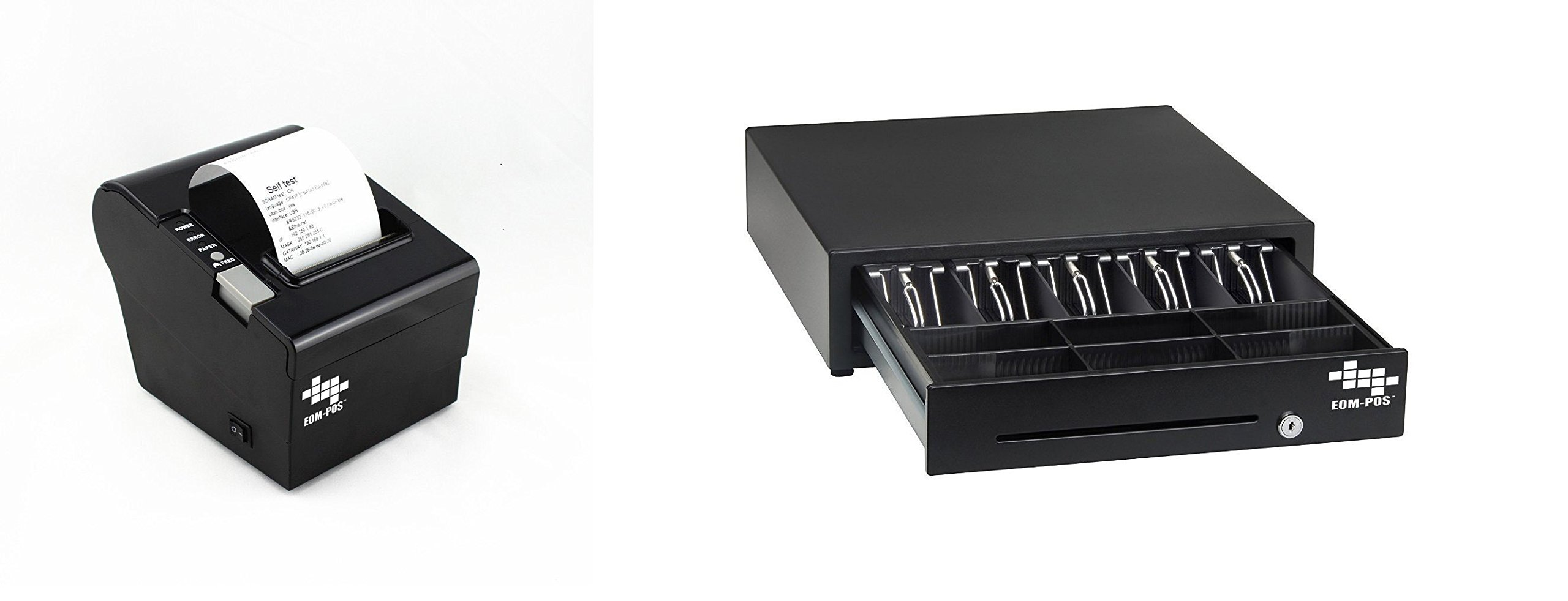 EOM-POS Heavy Duty Cash Register Drawer + Thermal Receipt Printer NOT COMPATIBLE WITH SQUARE OR CLOVER