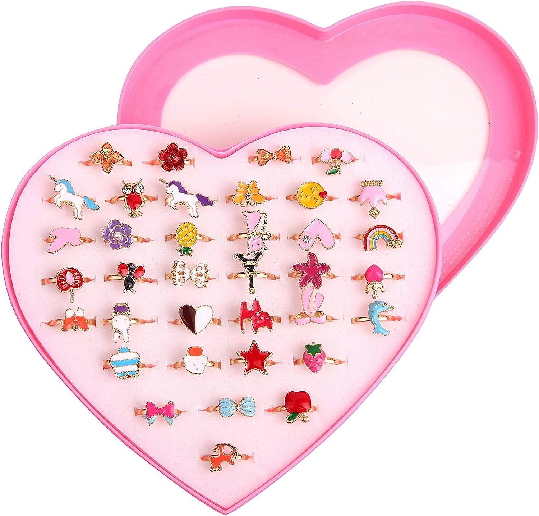 Little Girls Adjustable Rings, ZoneYan Little Girl Jewel Rings, 36 Pieces Multicolor Dress Up Rings For Little Girls, Princess Finger Rings Set
