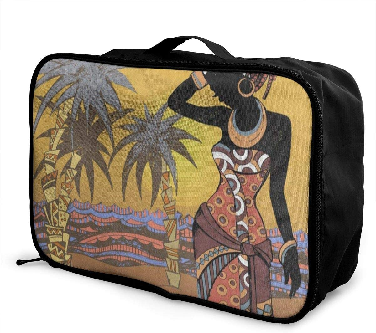 Travel Bags Vintage African Women Palm Tree Portable Handbag Trolley Handle Luggage Bag