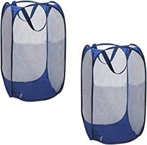 HOSTEESSCHOICE Popup Mesh Laundry Hamper Durable Portable Handles Collapsible Laundry Basket Bag, Pack of 2,Blue
