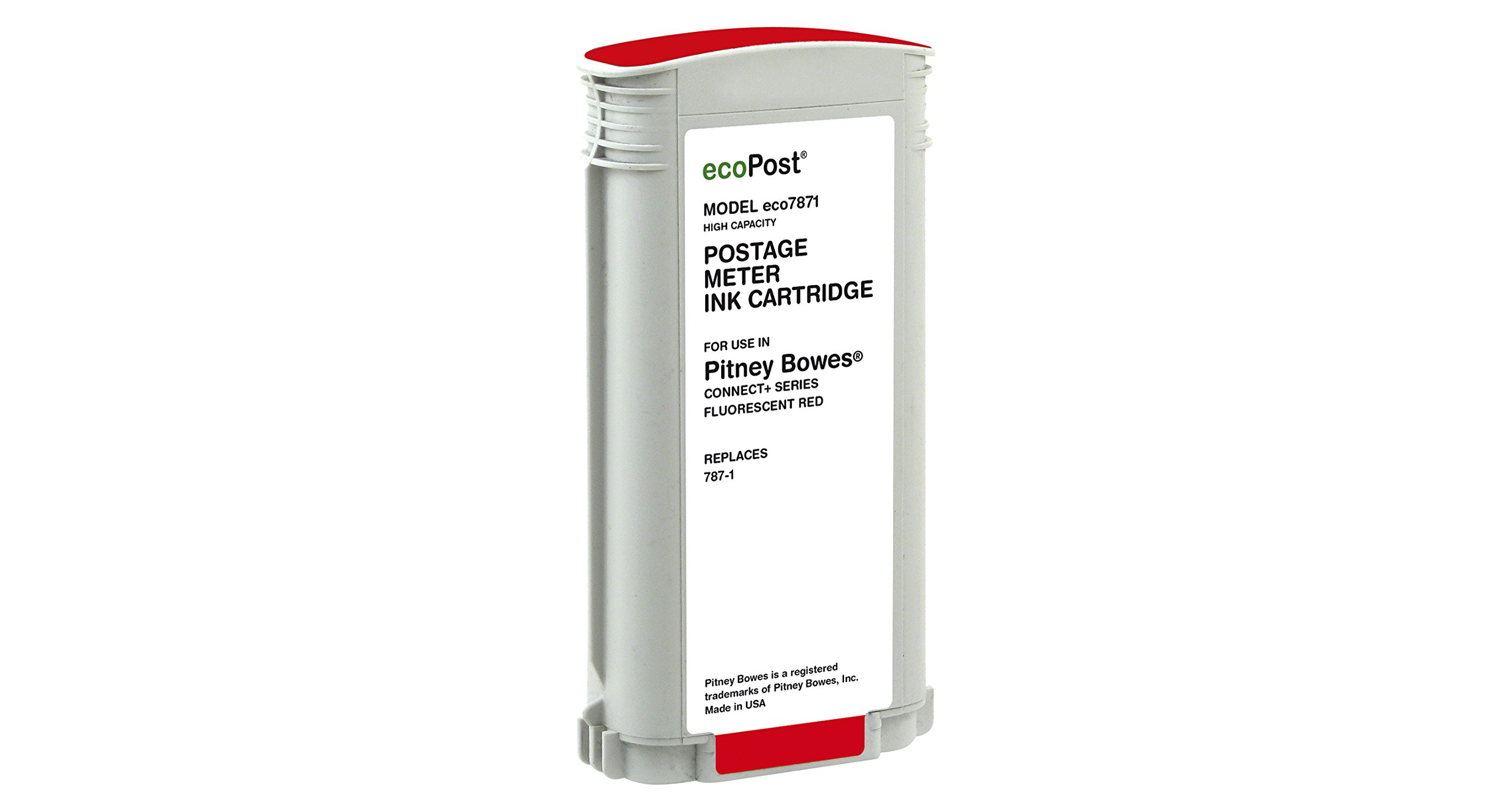 ecoPost ECO7871 High Yield Postage Ink Cartridge, Pitney Bowes Connect, Red