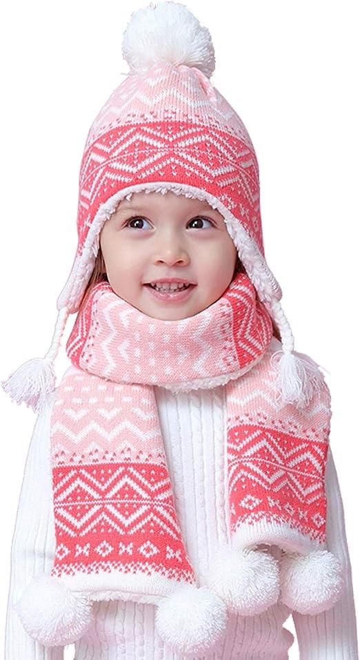 Kids Girls 2 Pieces Winter Knit Hats Scarf Set Pom Cute Cap W//Ear Flap Scarf