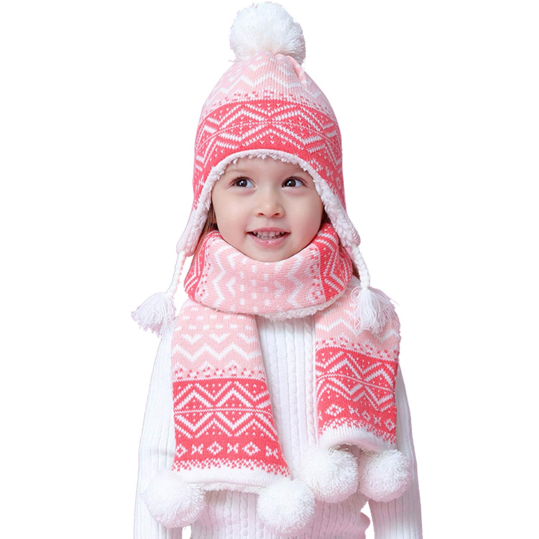 Snyemio Enfants Bébé Fille Bonnet Hiver Chapeaux Écharpe Set Mignon Chaud Tricoté Pompom 6-36Mois
