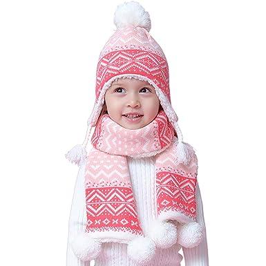Snyemio Enfants Bébé Fille Bonnet Hiver Chapeaux Écharpe Set Mignon Chaud  Tricoté Pompom 6-36Mois c8e51a5f156