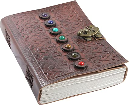 Leather Book Of Shadows Journal Unique Writing Notebook Travel Diary With Chakra Gem Stones And Latch Plain Unlined Pages 6 X 9 Inches
