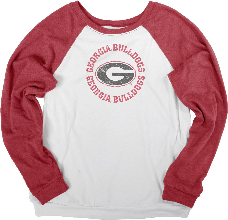 NCAA Georgia BulldogsレディースCozy Fleeceクルーシャツ, Large ,ホワイト/レッド   B072ZR5R3Z
