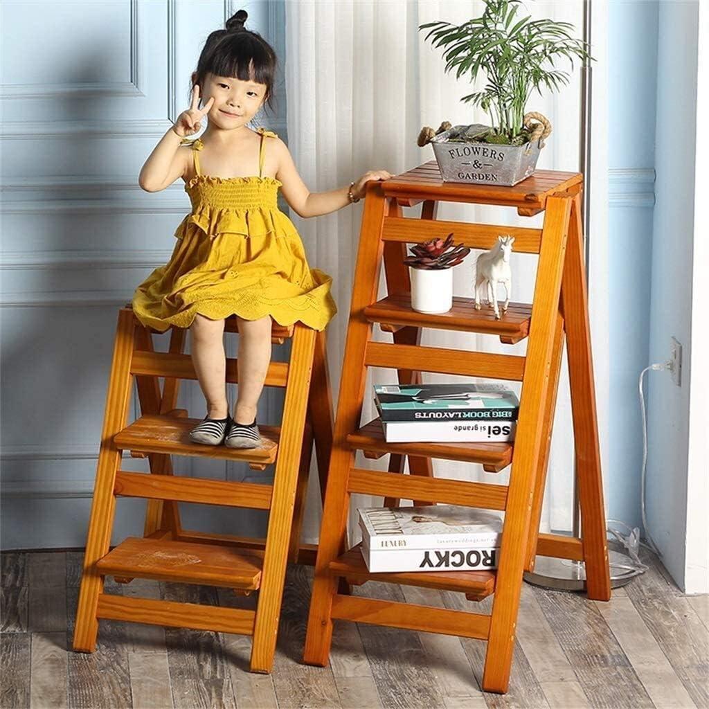 Hngyanp Pliage Escabeau 4 étapes Léger et Pliable en Bois for Enfant Adulte for la bibliothèque Loft Cuisine Décoration -Pliant en Tabouret d\'Échelle (Color : Natural) Walnut Color