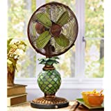 DecoBREEZE 10-Inch Oscillating Table Fan with Pinapple Shaped Mosaic Glass Light Up Base
