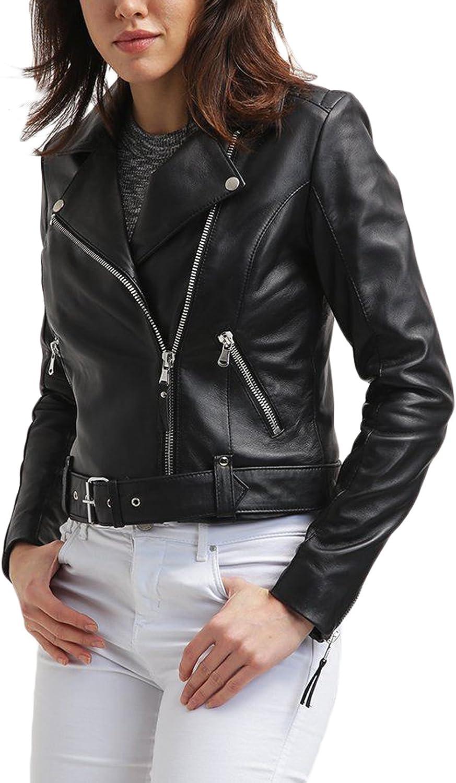 New Women Genuine Real Leather Jacket Ladies Slim Fit Biker Coat LFWN666