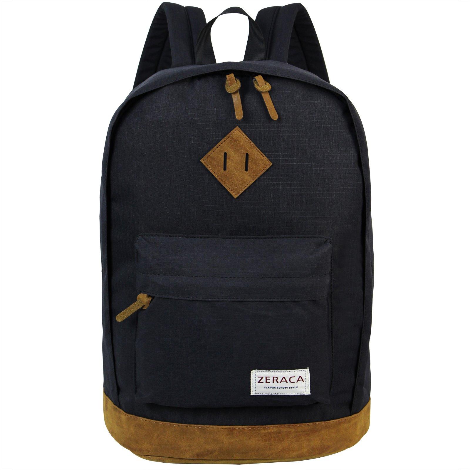 Zeraca Fashion Canvas Waterproof Laptop Backpack for High School College Black