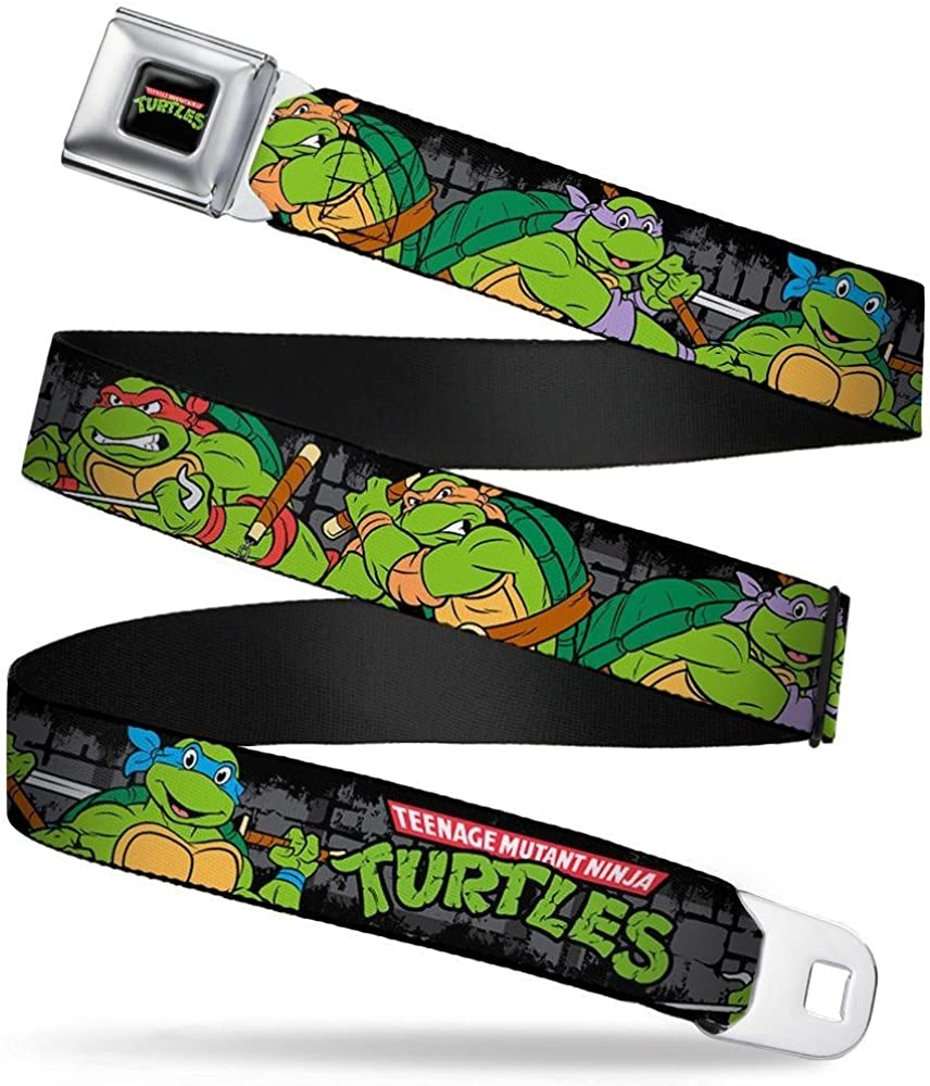 Classic TMNT Group Pose4 in Sewer//TMNT Logo 24-38 Inches in Length Buckle-Down Seatbelt Belt 1.5 Wide