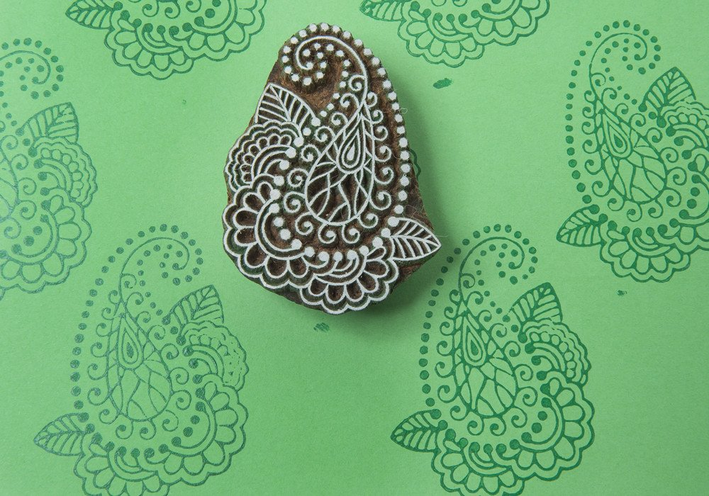 Blockwallah Pearl Paisley Wooden Block Stamp