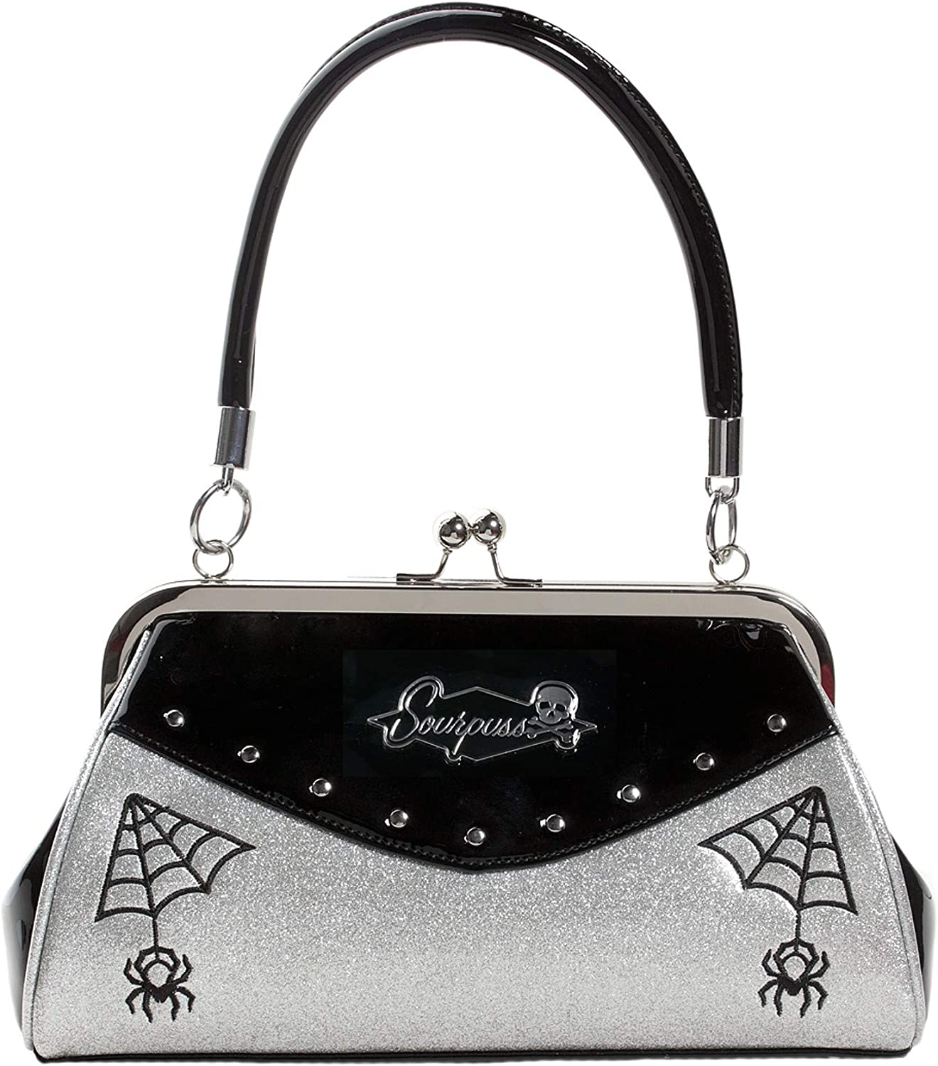 Sourpuss Webbed Widow Black Red Purse Embroidered Spider Web Artwork