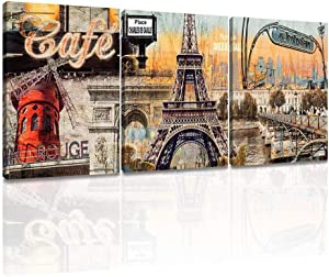 ArtKisser Modern Canvas Wall Art Vintage Paris Eiffel Tower Wall Decors French Landscape Oil Paintings Poster Prints on Canvas for Girls Bedroom Living Room Bathroom 12x16inch, 3pcs