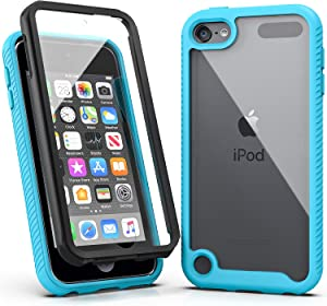 iPod Touch 7 Case,iPod Touch 6 Case,SLMY Armor Shockproof Case with Build in Screen Protector Heavy Duty Shock Resistant Hybrid Rugged Cover for Apple iPod Touch 5/6/7th Generation-Blue