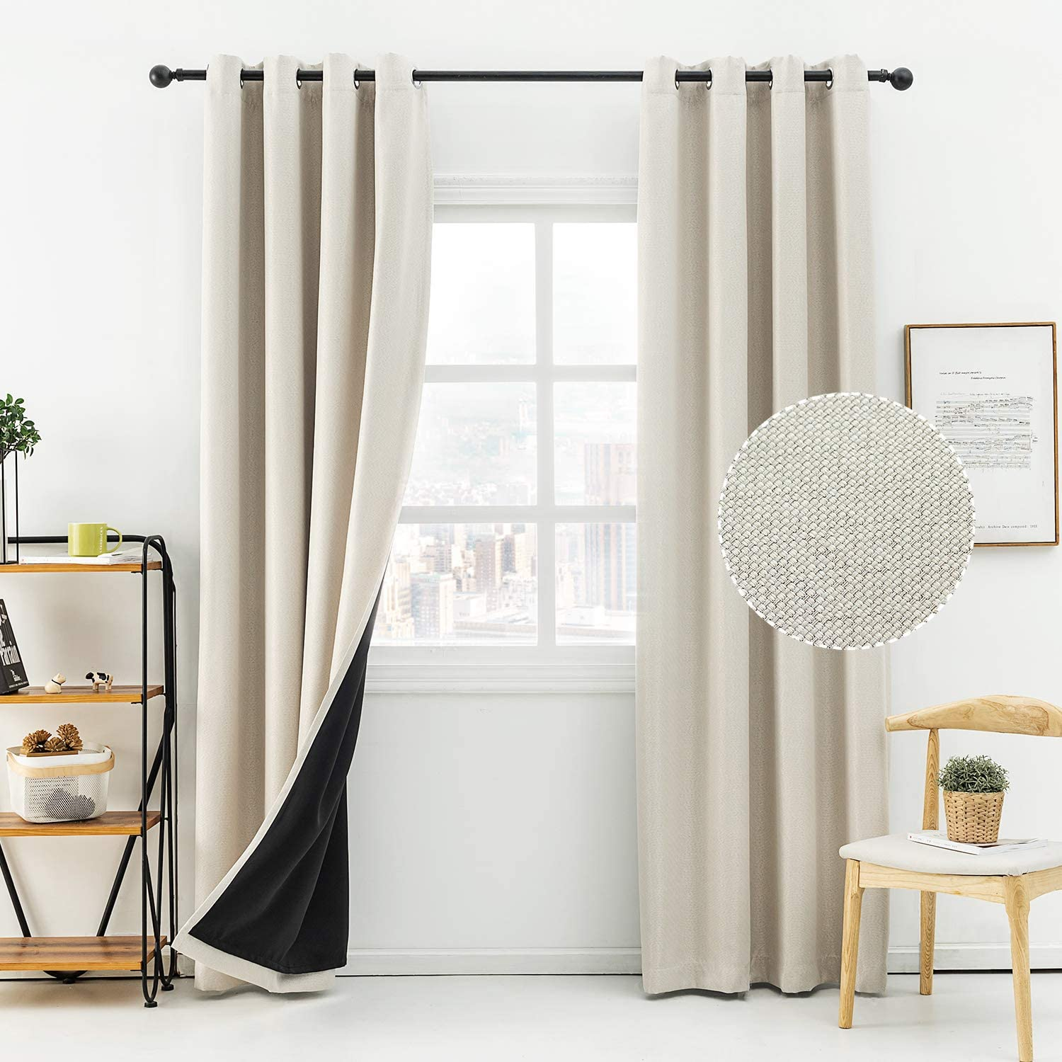 Anjee Linen Blackout Curtains for Bedroom 63 Inches 100% Room Darkening Window Curtain Burlap Drapes Noise Reducing Thermal Insulated Drapery Panels Home Decor Gifts,Beige 52x63 Inches