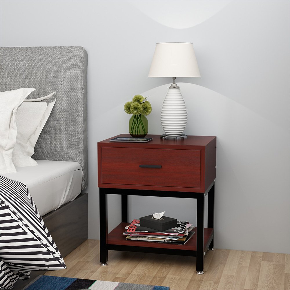 Night Stands, LITTLE TREE Side End Table with Drawer and Shelf for Bed Room Living Room, Beside Table with Storage, Metal Frame & Wood, Cherry