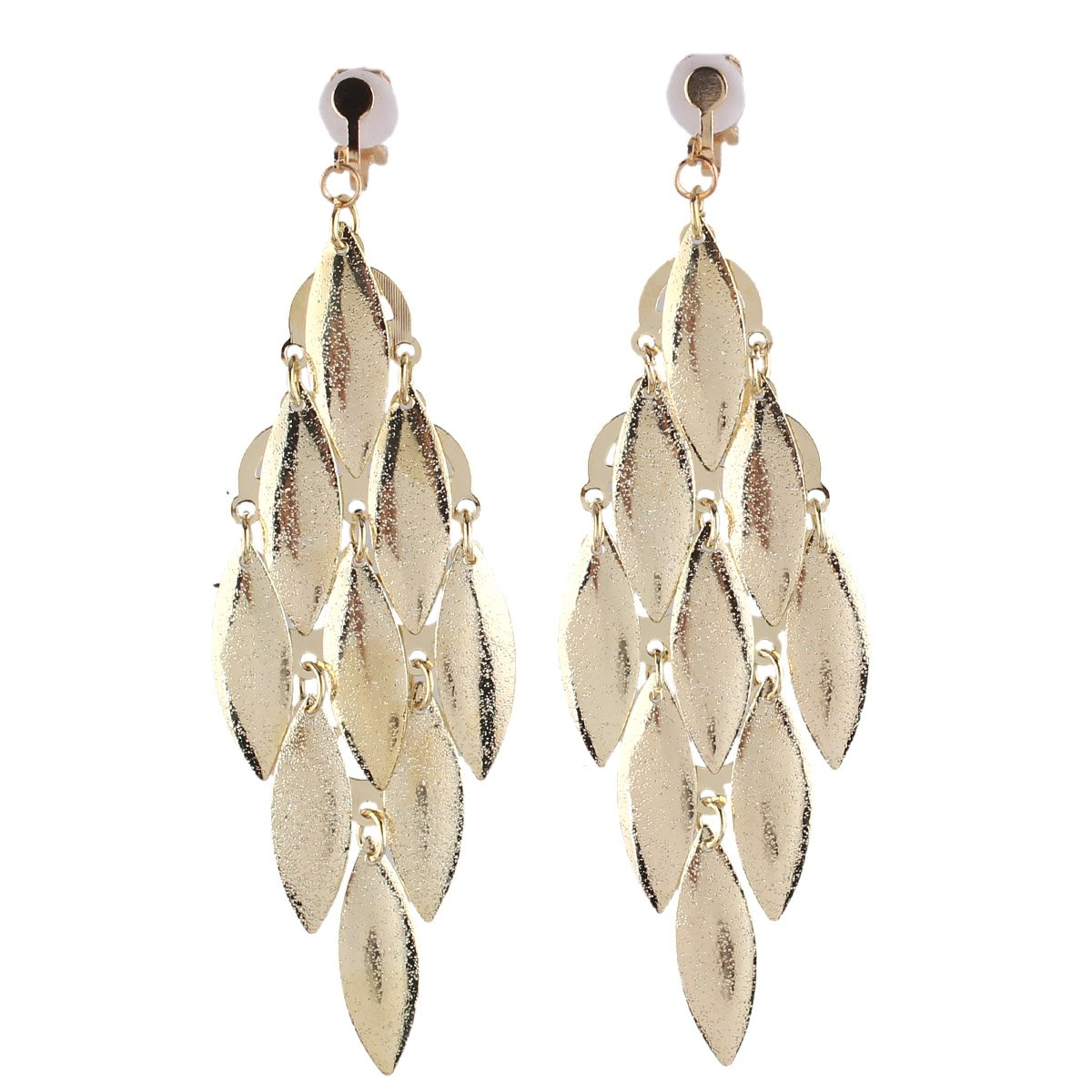 Grace Jun New Handmade Multi-layer Dangle Drop Earrings and Clip on Earrings No Pierced for Women (Gold Clip-on)