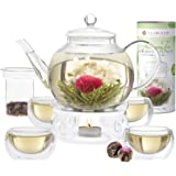Teabloom Set Completo Fiori di Tè: Teiera in Vetro Borosilicato,12 Fiori di tè, Riscalda Teiera, 4 Tazze in Vetro a Doppio Strato, Infusore per Tè Sfuso - Perfetta Confezione Regalo di Fiori di Tè