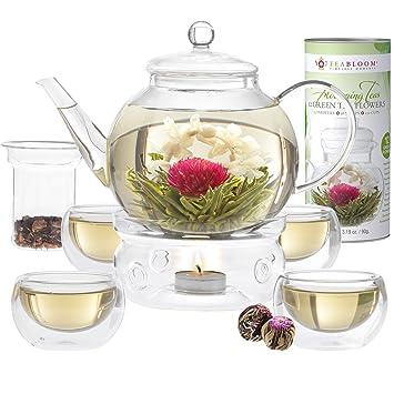 Service à thé Teabloom complet   théière verre borosilicaté - 12 fleurs de  thé sculpté - Réchaud à thé - 4 verres double paroi - Infuseur à ... 5a9e82764e4