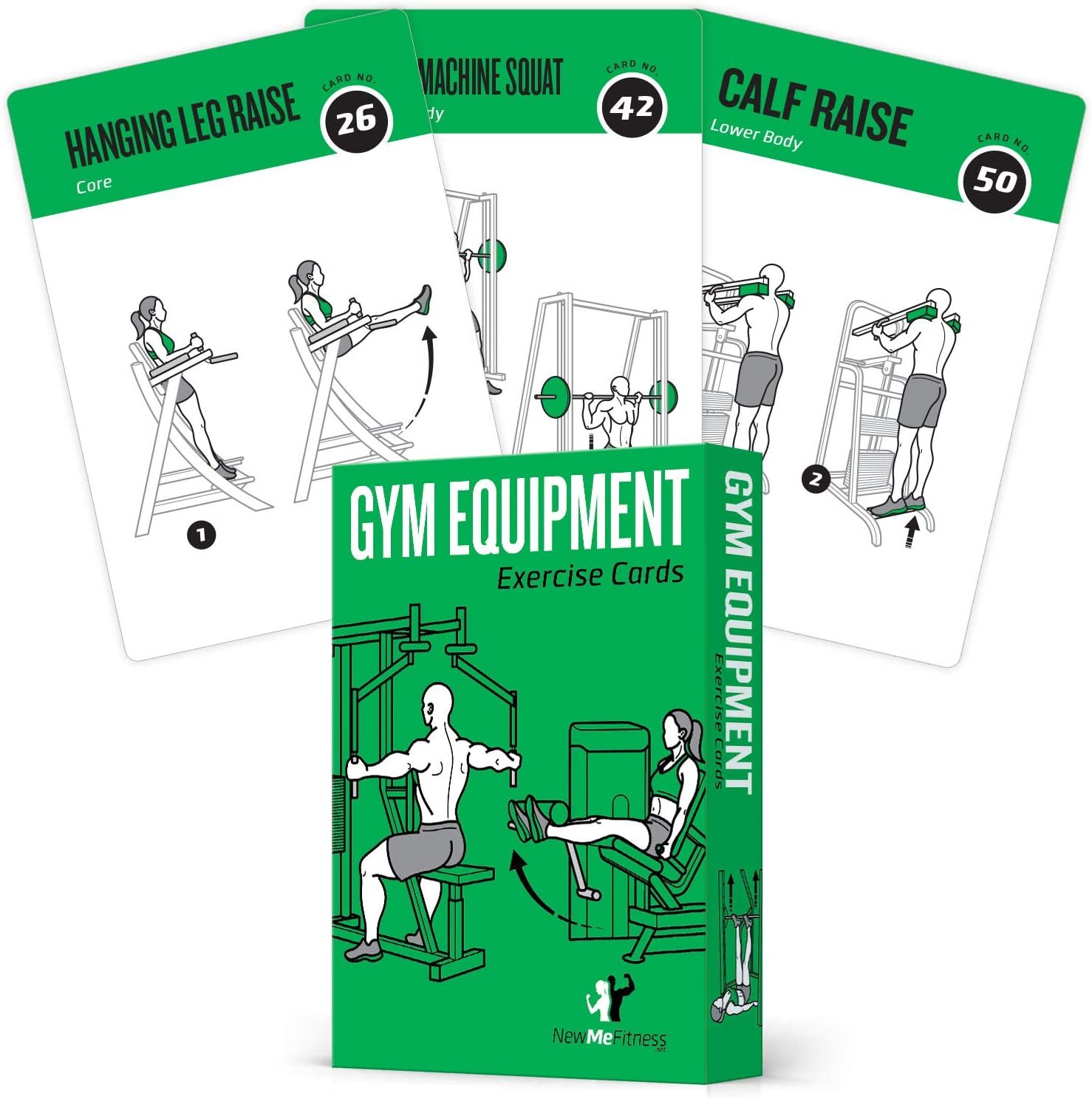 Gym Equipment Exercise Cards, Set of 62 - Guided Workouts for Strength & Cardio :: Illustrated Fitness Cards with 50 Exercises, for Men & Women :: Large, Durable, Waterproof